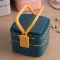 日式雙層方形便當盒兩入組