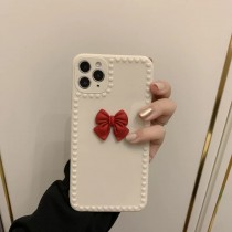杏白色立體蝴蝶結Iphone手機殼
